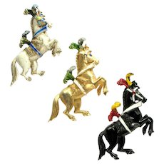 Vintage Florenza Set of Three Enamel White Black Goldtone Circus Pony Brooch