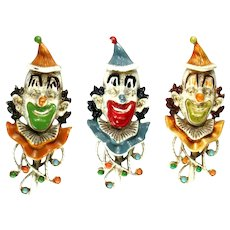 Florenza Vintage Enamel Set of Three Clown Brooches