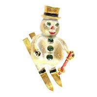 Florenza Vintage Green Rhinestone Enamel Skiing Snowman Brooch