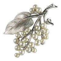Trifari Vintage Brushed Silvertone Imitation Pearl Grape Cluster Vine Leaf Brooch