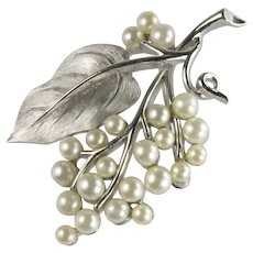 Trifari Vintage Brushed Silvertone Imitation Pearl Grape Cluster Vine Leaf Brooch