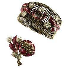 Art Nouveau 1930s Deep Purple Red Enamel Flowers Crystal Rhinestone Wire Cuff Bracelet Dress Clip Set