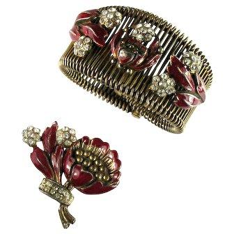 Art Nouveau 1930s Deep Purple Red Enamel Flowers Crystal Rhinestone Wire Cuff Bracelet Dress Clip Set