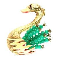 Har Green Bead Crystal Rhinestone Enamel Swan Figural Vintage Brooch