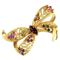 Vintage Florenza Cutout Shades of Amethyst Pink Green Orange Aqua Rhinestone Bow Brooch