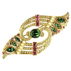 Art Deco Style Shades of Green Rose Gold Rhinestones Imitation Pearl Brooch