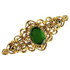 Florenza Green Oval Glass Stone Filigree Victorian Style Bar Brooch