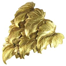 Large Goldtone Stamped Metal Layered Grape Leaves Dress Clip