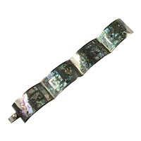 Los Ballesteros Mexico Inlay Abalone Shell Sterling Silver Bracelet