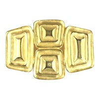 Modernist Squares Rectangles Goldtone Vintage Brooch