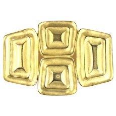 Modernist Squares Rectangles Goldtone Vintage Brooch