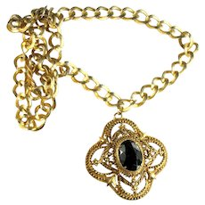 Florenza Huge Black Oval Glass Stone Goldtone Filigree Pendant and Textured Chain