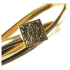 Anne Klein Goldtone Lion Head Buckle Stretch Vintage Belt
