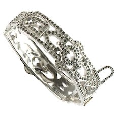 Art Deco Pave Crystal Rhinestone Hinged Cuff Bracelet