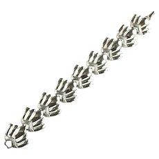 Coro Silvertone Stylized Shell Design Vintage Bracelet