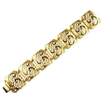 Vendome Openwork Slat Swirl Design Vintage Bracelet