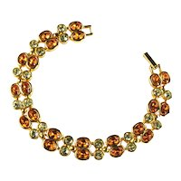 Joan Rivers Topaz Orange and Jonquil Yellow Rhinestone Bracelet