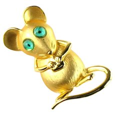 Vintage Goldtone Mouse Green Eyes Cheese JJ Brooch