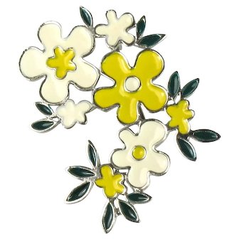 Flower Power White Yellow Green Enameled Vintage Brooch