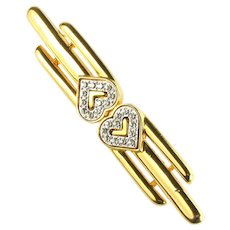 Monet Crystal Rhinestone Hearts Bar Brooch