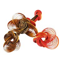 Twisted Shaved Wood Bamboo Brown Orange Red Woven Vintage Brooch