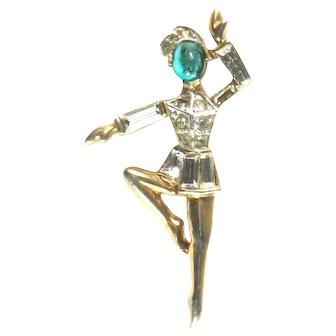 Trifari Male Ballet Dancer Danseur Rhinestone Cabochon Figural Vintage Brooch