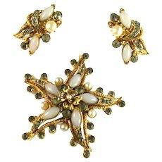 Florenza Vintage Shades of Opal Pearl Black Diamond Starfish Brooch and Earrings