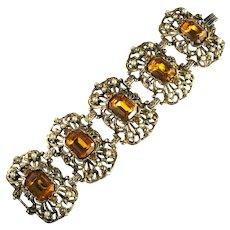Vintage Wide Topaz Colored Rhinestone Imitation Pearl Renaissance Revival  Bracelet