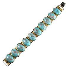 Vintage Goldtone Aqua Pink Speckled Confetti Easter Egg Cabochon Bracelet