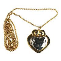 Brutalist Silvertone Heart Goldtone Pendant Necklace