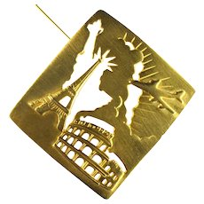 JJ Jonette Jewelry Vintage Paris New York Rome Travel Motif Brooch