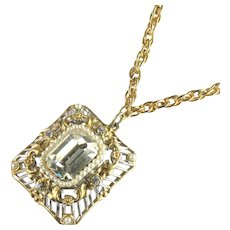 Vintage Coro Silvertone Goldtone Filigree Crystal Rhinestone Imitation Pearl Pendant Necklace