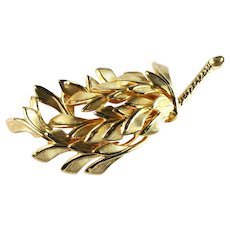Vintage Goldtone Layered Leaf Leaves Stem Textured Brooch