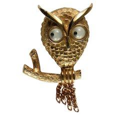Avon Googly Eye Owl Vintage Figural Brooch