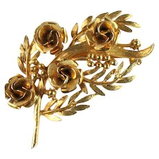 Coro Vintage Flowers Berries Leaves Branch Brooch