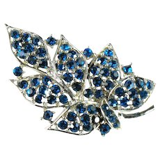 Capri Blue Rhinestone Leaf Vintage Figural Brooch