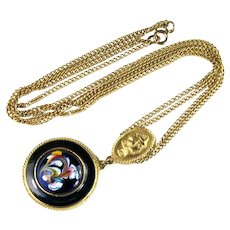 Florenza Deep Blue Enamel Round White Yellow Red Green Flower Slide Pendant Chain Necklace
