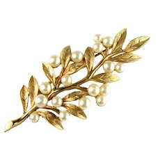 Trifari Vintage Imitation Pearl Branch Leaves Brooch