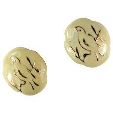 Eisenberg Cream Enamel Bird Motif Vintage Earrings