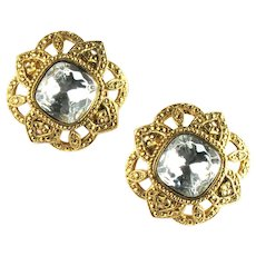 Huge Avon Textured Goldtone Large Cushion Square Crystal Rhinestone Vintage Earrings