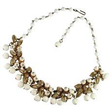 Florenza White Bead Leaf Design Crystal Rhinestone Vintage Necklace