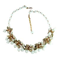 Florenza Pale Blue Bead Leaf Design Crystal Rhinestone Vintage Necklace