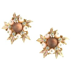 Florenza Pale Pink Bead Enamel Leaves Frosted Cabochon Rhinestone Vintage Earrings