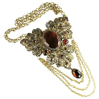 Topaz Colored Rhinestone Cabochons Filigree Chains Huge Renaissance Revival Necklace