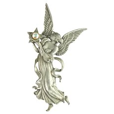 JJ Greek Winged Goddess Astraea Vintage Brooch