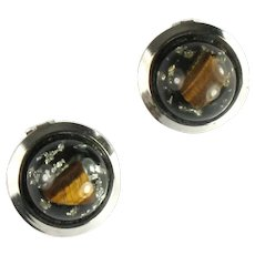 Round Domed Embedded Tiger Eye Foil Vintage Earrings