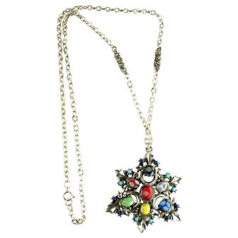 Florenza Mod 1960s Red Blue Green Yellow Vintage Pendant Necklace
