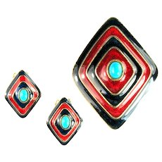 Florenza Blue Red Enamel Imitation Turquoise Vintage Domed Brooch and Earrings