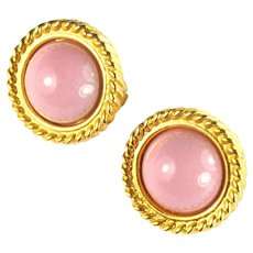 Rose Pink High Domed Round Vintage Earrings