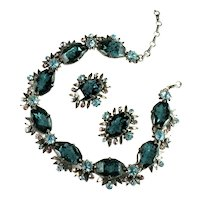 Florenza Deep Green Teal Cloud Octagon Stone Necklace and Earrings Set